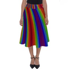 Abstract Pattern Lines Wave Perfect Length Midi Skirt