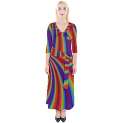 Abstract Pattern Lines Wave Quarter Sleeve Wrap Maxi Dress