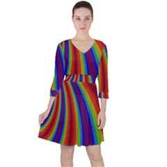 Abstract Pattern Lines Wave Ruffle Dress