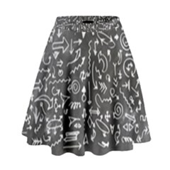 Arrows Board School Blackboard High Waist Skirt