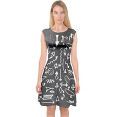 Arrows Board School Blackboard Capsleeve Midi Dress