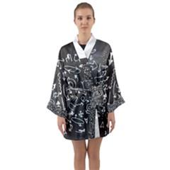 Arrows Board School Blackboard Long Sleeve Kimono Robe