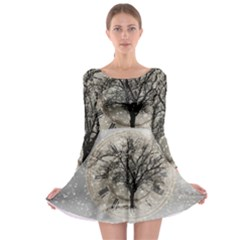 Snow Snowfall New Year S Day Long Sleeve Skater Dress