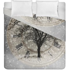Snow Snowfall New Year S Day Duvet Cover Double Side (king Size)