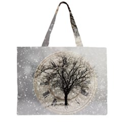 Snow Snowfall New Year S Day Zipper Large Tote Bag