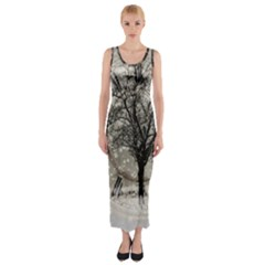 Snow Snowfall New Year S Day Fitted Maxi Dress