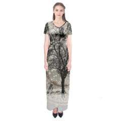 Snow Snowfall New Year S Day Short Sleeve Maxi Dress