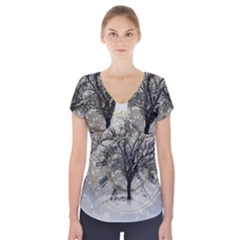 Snow Snowfall New Year S Day Short Sleeve Front Detail Top
