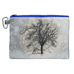 Snow Snowfall New Year S Day Canvas Cosmetic Bag (xl)