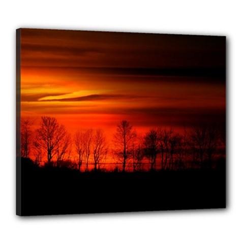 Tree Series Sun Orange Sunset Canvas 24  X 20