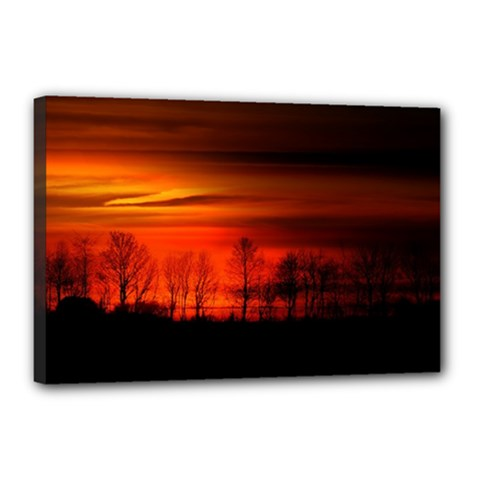 Tree Series Sun Orange Sunset Canvas 18  X 12