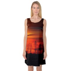 Tree Series Sun Orange Sunset Sleeveless Satin Nightdress