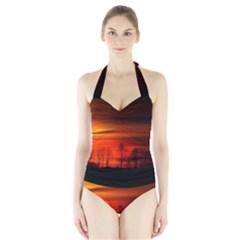 Tree Series Sun Orange Sunset Halter Swimsuit
