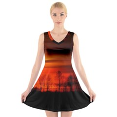 Tree Series Sun Orange Sunset V Neck Sleeveless Skater Dress