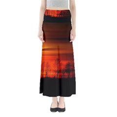 Tree Series Sun Orange Sunset Full Length Maxi Skirt
