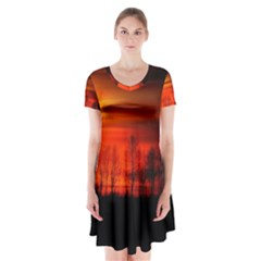 Tree Series Sun Orange Sunset Short Sleeve V Neck Flare Dress