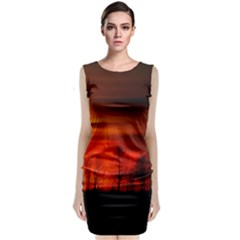 Tree Series Sun Orange Sunset Classic Sleeveless Midi Dress