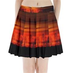 Tree Series Sun Orange Sunset Pleated Mini Skirt