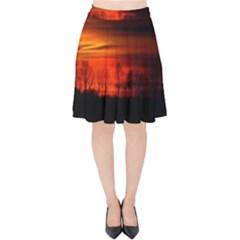 Tree Series Sun Orange Sunset Velvet High Waist Skirt