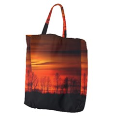 Tree Series Sun Orange Sunset Giant Grocery Zipper Tote