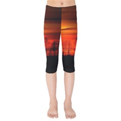 Tree Series Sun Orange Sunset Kids  Capri Leggings