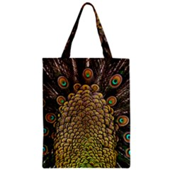 Peacock Feathers Wheel Plumage Zipper Classic Tote Bag