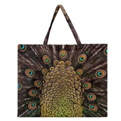 Peacock Feathers Wheel Plumage Zipper Large Tote Bag