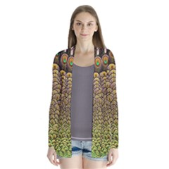 Peacock Feathers Wheel Plumage Drape Collar Cardigan