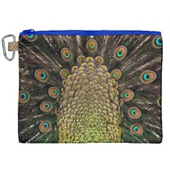Peacock Feathers Wheel Plumage Canvas Cosmetic Bag (xxl)