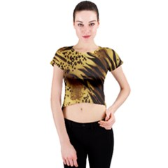 Pattern Tiger Stripes Print Animal Crew Neck Crop Top