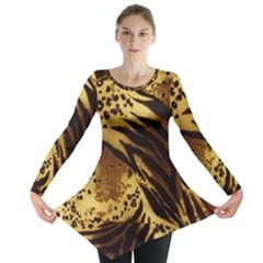 Pattern Tiger Stripes Print Animal Long Sleeve Tunic