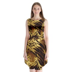 Pattern Tiger Stripes Print Animal Sleeveless Chiffon Dress