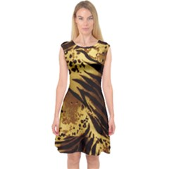 Pattern Tiger Stripes Print Animal Capsleeve Midi Dress