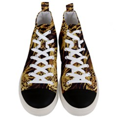 Pattern Tiger Stripes Print Animal Men s Mid Top Canvas Sneakers