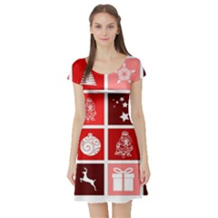 Christmas Map Innovative Modern Short Sleeve Skater Dress