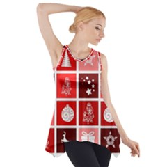 Christmas Map Innovative Modern Side Drop Tank Tunic