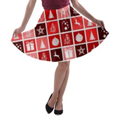 Christmas Map Innovative Modern A Line Skater Skirt
