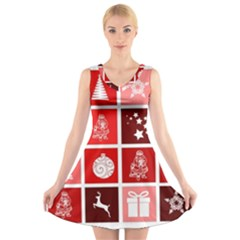 Christmas Map Innovative Modern V Neck Sleeveless Skater Dress