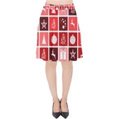 Christmas Map Innovative Modern Velvet High Waist Skirt