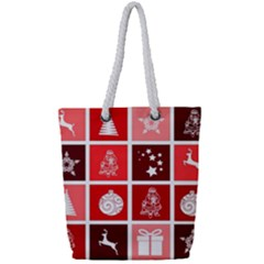 Christmas Map Innovative Modern Full Print Rope Handle Tote (small)