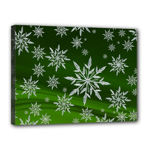 Christmas Star Ice Crystal Green Background Canvas 16  X 12