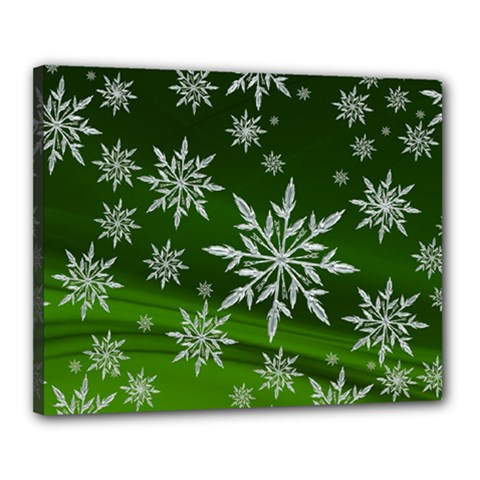 Christmas Star Ice Crystal Green Background Canvas 20  X 16