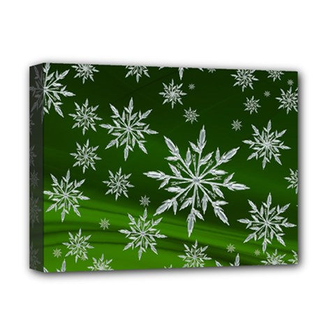 Christmas Star Ice Crystal Green Background Deluxe Canvas 16  X 12