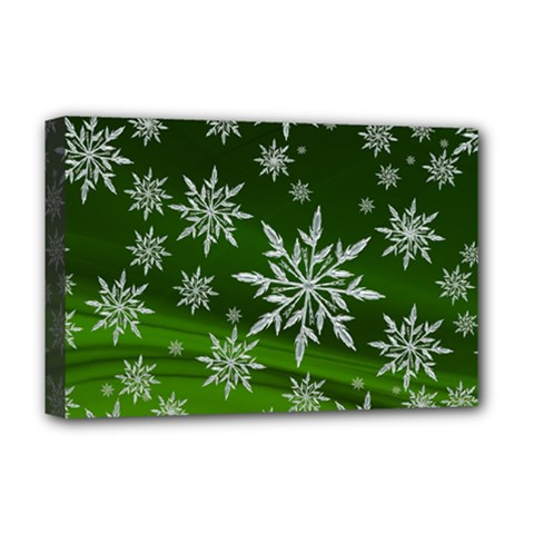 Christmas Star Ice Crystal Green Background Deluxe Canvas 18  X 12