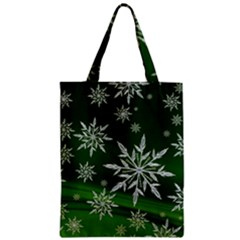 Christmas Star Ice Crystal Green Background Zipper Classic Tote Bag