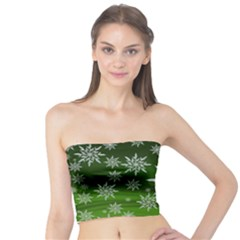 Christmas Star Ice Crystal Green Background Tube Top