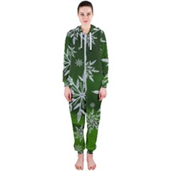Christmas Star Ice Crystal Green Background Hooded Jumpsuit (ladies)