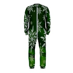 Christmas Star Ice Crystal Green Background Onepiece Jumpsuit (kids)