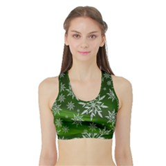 Christmas Star Ice Crystal Green Background Sports Bra With Border