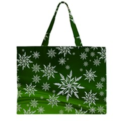 Christmas Star Ice Crystal Green Background Zipper Large Tote Bag